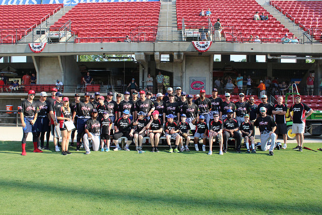 Miracle League players with the Carolina Mudcats